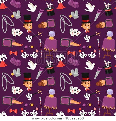 Illusionist in purple tailcoat with white bunny fantasy witchcraft theater. Wizard hat entertainment performance magician illusionist. Imagination magician illusionist seamless pattern background.