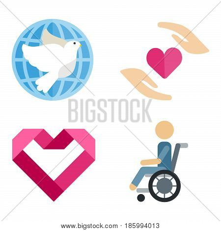 Volunteer icons charity donation vector set humanitarian awareness hand hope aid support and assistance care service human symbols. Trust social rescue helping ribbon.