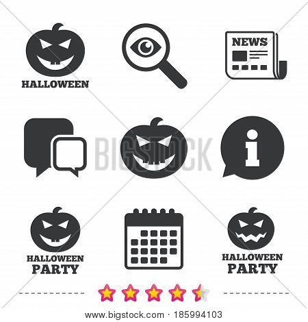 Halloween pumpkin icons. Halloween party sign symbol. All Hallows Day celebration. Newspaper, information and calendar icons. Investigate magnifier, chat symbol. Vector