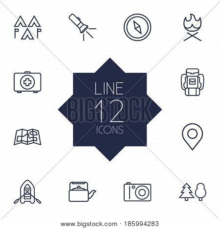 Set Of 12 Outdoor Outline Icons Set.Collection Of Teapot, Encampment, Pocket Torch And Other Elements.