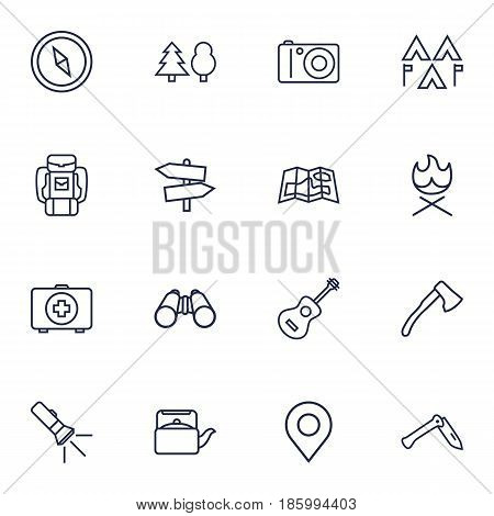 Set Of 16 Camping Outline Icons Set.Collection Of Guidepost, Binoculars, Forest And Other Elements.