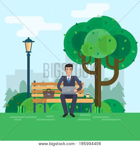 Man freelancer works in park with computer on bench under tree. Flat style vector illustration.