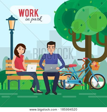 Man and woman freelancers works in park with computer on bench under tree. Flat style vector illustration.