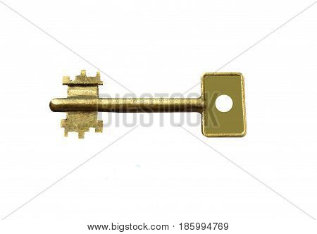key. Isolated on white background, open door lock. Protect your house by locking the door.