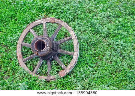 Wheel of an old cart on the grass, aged by time, the last way