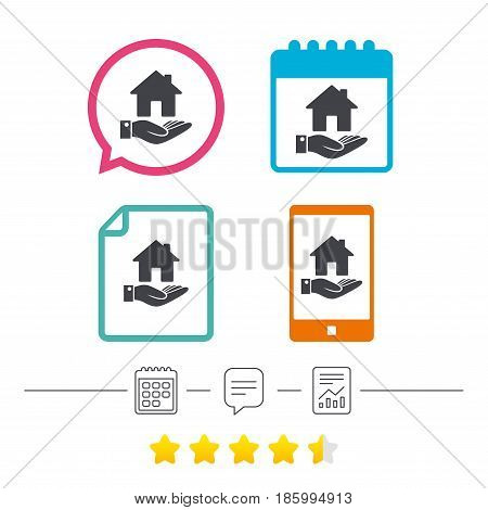 Home and hand sign icon. Palm holds house symbol. Calendar, chat speech bubble and report linear icons. Star vote ranking. Vector