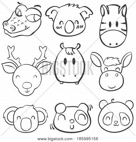 Collection stock animal head hand draw doodles