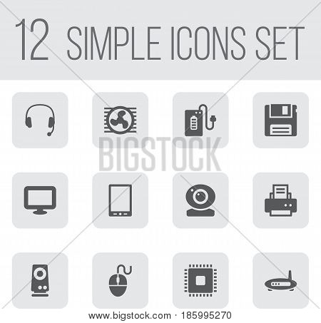 Set Of 12 Notebook Icons Set.Collection Of Palmtop, Peripheral, Supply And Other Elements.