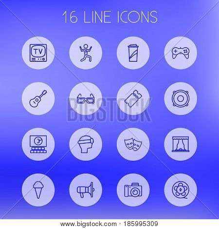 Set Of 16 Pleasure Outline Icons Set.Collection Of Ticket, Tv Set, Film Role And Other Elements.