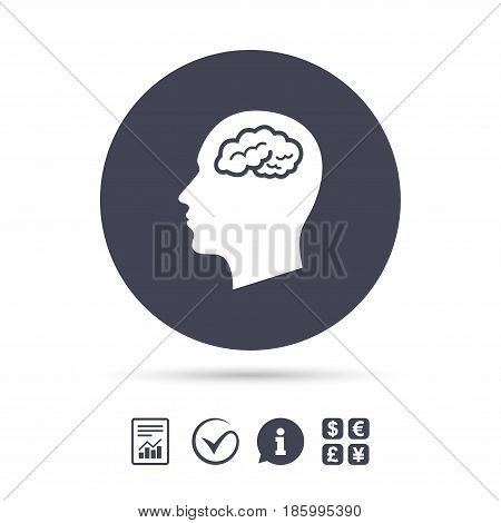 Head with brain sign icon. Male human head think symbol. Report document, information and check tick icons. Currency exchange. Vector
