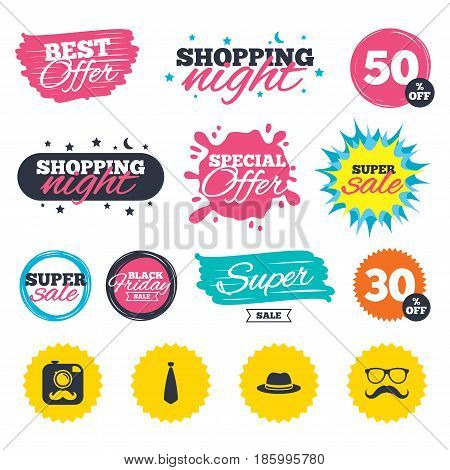 Sale shopping banners. Special offer splash. Hipster photo camera with mustache icon. Glasses and tie symbols. Classic hat headdress sign. Web badges and stickers. Best offer. Vector