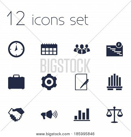 Set Of 12 Business Icons Set.Collection Of Graph, Colleagues, Diagram And Other Elements.