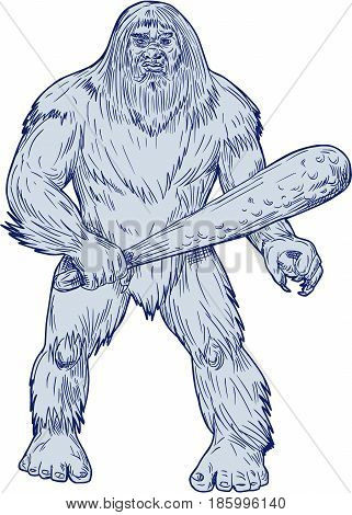 Drawing sketch style illustration of a Bigfoot or Sasquatch a simian-like creature of American folklore that inhabit forests usually described as a large hairy bipedal humanoid standing holding club viewed from front set on isolated white background.