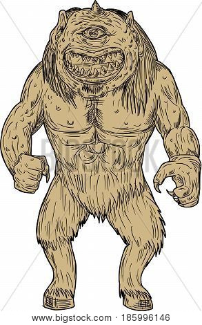Drawing sketch style illustration of a cyclops a member of a primordial race of giants with a single eye in the center of his forehead in Greek and Roman mythology standing viewed from front on isolated white background.