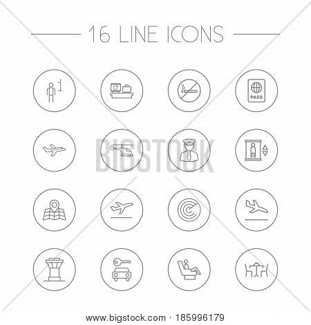Set Of 16 Land Outline Icons Set.Collection Of Car Rent, Certification, Detection And Other Elements.