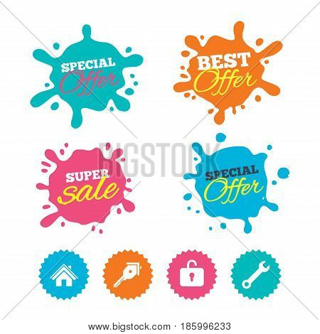 Best offer and sale splash banners. Home key icon. Wrench service tool symbol. Locker sign. Main page web navigation. Web shopping labels. Vector