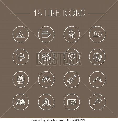 Set Of 16 Outdoor Outline Icons Set.Collection Of Rubber Boat, Guidepost, Binoculars And Other Elements.