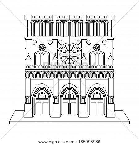 notre dame de paris cathedral icon image vector illustration design single black line