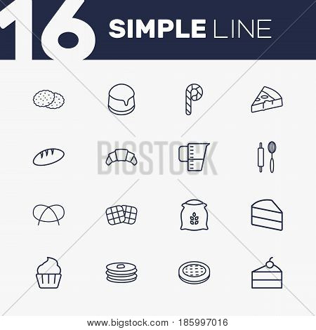 Set Of 16  Outline Icons Set.Collection Of Measuring Cup, Pancakes, Waffle And Other Elements.