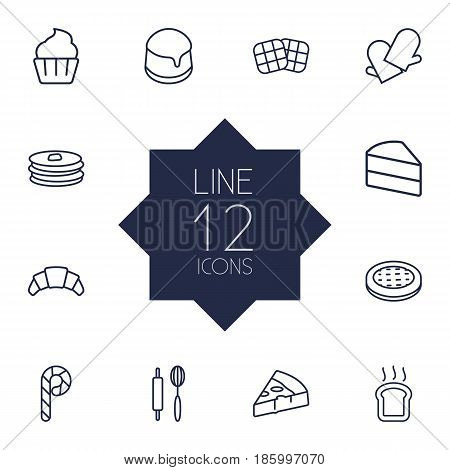 Set Of 12 Bakery Outline Icons Set.Collection Of Gloves, Rolling Pin, Pudding And Other Elements.