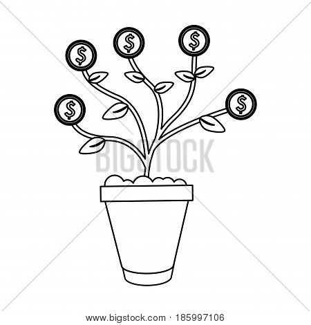 money plant in pot icon image vector illustration design single black line