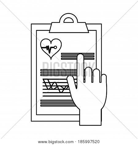 hand pointing medical history on clipboard healthcare icon image vector illustration design single black line