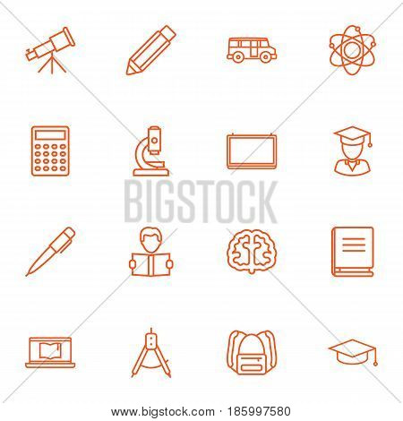 Set Of 16 Science Outline Icons Set.Collection Of Laptop, School Board, Pen And Other Elements.
