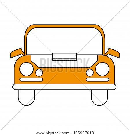 car frontview icon image vector illustration design partially colored