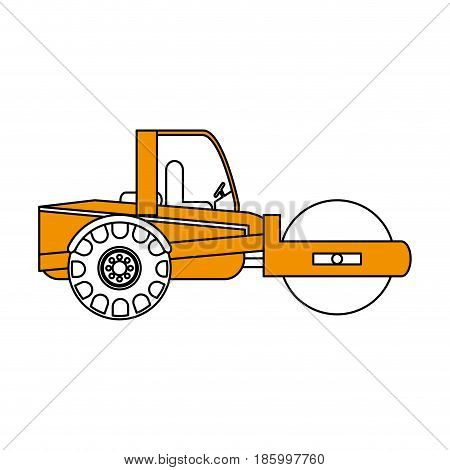 road roller construction heavy machinery icon image vector illustration design partially colored