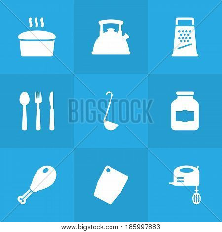 Set Of 9 Cooking Icons Set.Collection Of Teapot, Loaf, Jar And Other Elements.