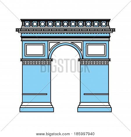 arc de triomphe icon image vector illustration design partially colored