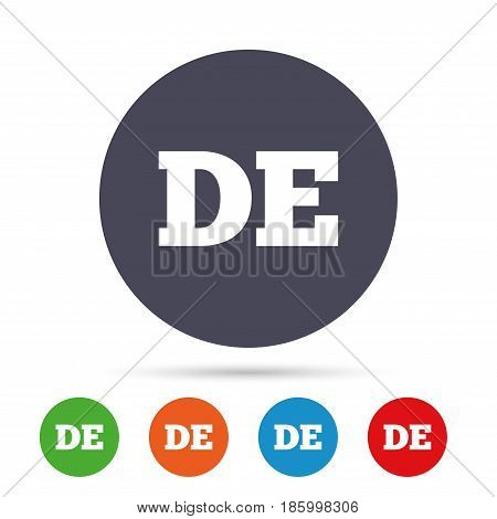German language sign icon. DE Deutschland translation symbol. Round colourful buttons with flat icons. Vector