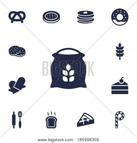Set Of 13  Icons Set.Collection Of Slice Bread, Pepperoni, Sack And Other Elements.