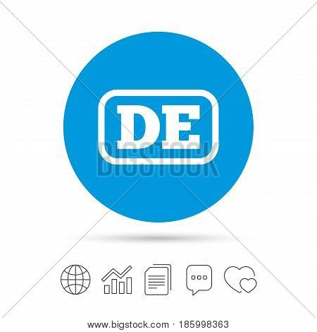 German language sign icon. DE Deutschland translation symbol with frame. Copy files, chat speech bubble and chart web icons. Vector