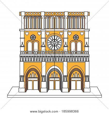 notre dame de paris cathedral icon image vector illustration design partially colored