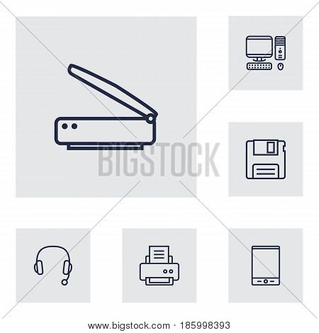 Set Of 6 Notebook Outline Icons Set.Collection Of Scanner, Printer, PC And Other Elements.