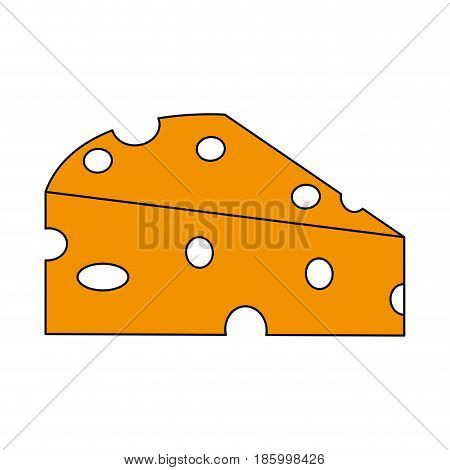 piece of cheese icon image vector illustration design partially colored