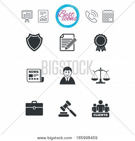Presentation, report and calendar signs. Lawyer, scales of justice icons. Clients, auction hammer and law judge symbols. Newspaper, award and agreement document signs. Classic simple flat web icons