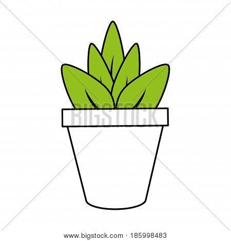 plant in pot icon image vector illustration design partially colored