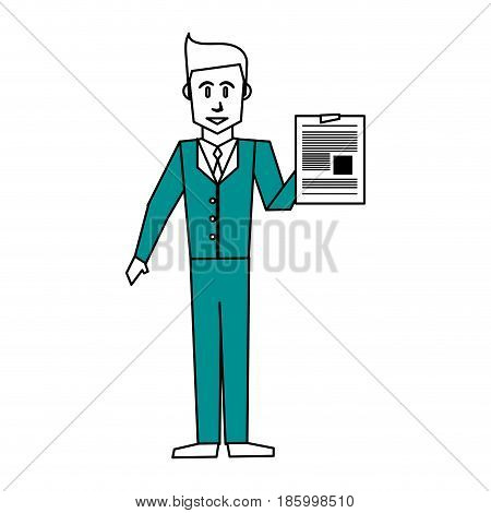 businessman holding document icon image vector illustration design partially colored