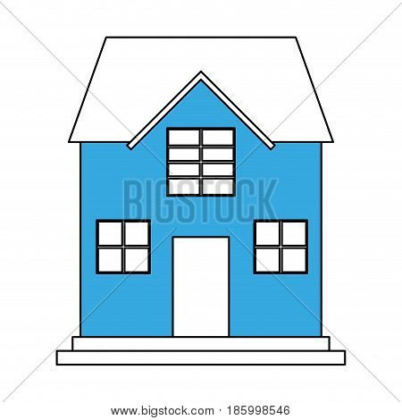 family house icon image vector illustration design  partially colored