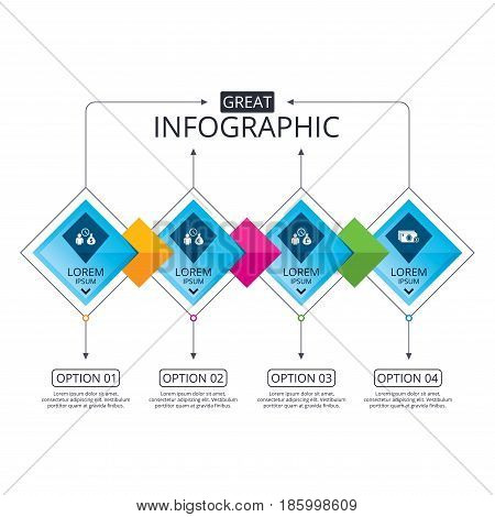 Infographic flowchart template. Business diagram with options. Bank loans icons. Cash money bag symbols. Borrow money sign. Get Dollar money fast. Timeline steps. Vector