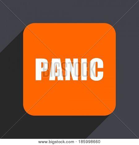 Panic orange flat design web icon isolated on gray background