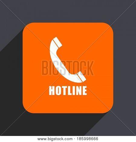 Hotline orange flat design web icon isolated on gray background
