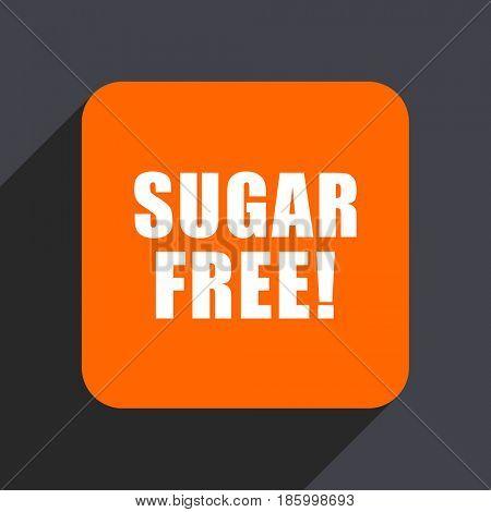 Sugar free orange flat design web icon isolated on gray background