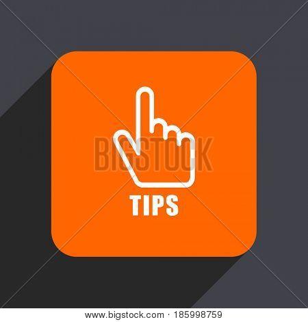 Tips orange flat design web icon isolated on gray background