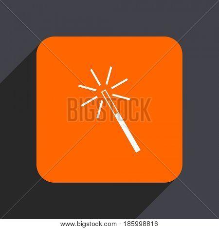 Magic wand orange flat design web icon isolated on gray background