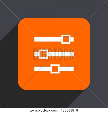 Slider orange flat design web icon isolated on gray background