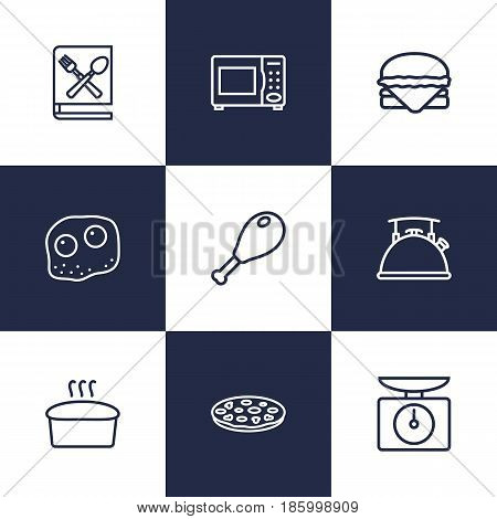 Set Of 9 Kitchen Outline Icons Set.Collection Of Bread, Omelette, Hamburger And Other Elements.