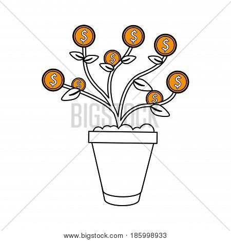 money plant in pot icon image vector illustration design partially colored